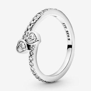 🍓Pandora Two Sparkling Hearts Ring